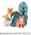 Cute bear, fox, hare and rabbit 61132111