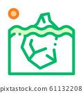 Iceberg In Ocean Global Warm Vector Thin Line Icon 61132208