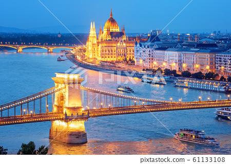 Cityscape of Budapest city on Danube river, 61133108