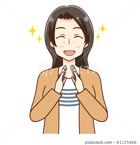 Illustration of a woman applauding 61135866