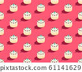 White Chocolate Cake with candle 3D isometric seamless pattern, Happy Birthday celebration concept poster and social banner post design illustration isolated on pink background with copy space, vector 61141629