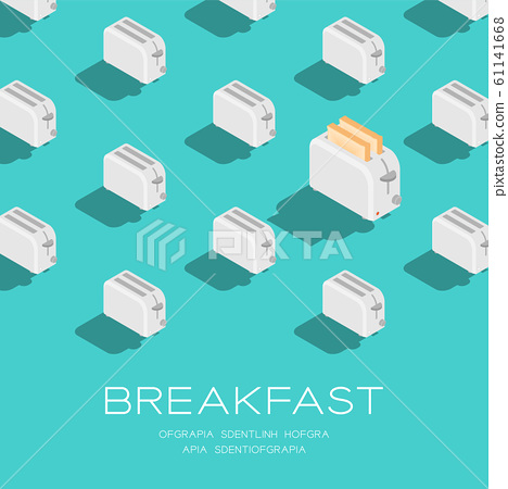 Toaster with Slice bread 3D isometric pattern, Breakfast bakery concept poster and social banner post square design illustration isolated on green background with copy space, vector eps 10 61141668