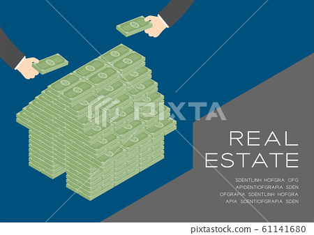House shape from banknote 3D isometric pattern, Real estate business investment concept poster and social banner post horizontal design illustration isolated on blue background with space, vector eps 61141680