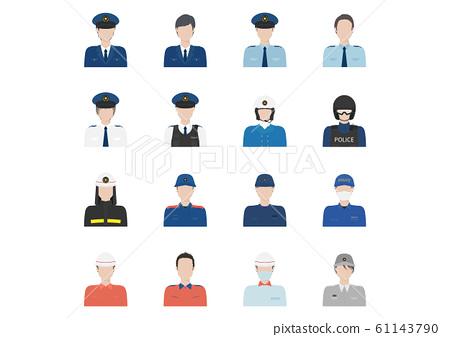 警察和消防員男性頭像 61143790