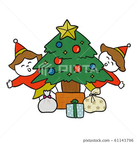 크리스마스 트리와 자매 61143796