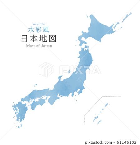 수채화 풍의 일본지도 일본 열도 61146102