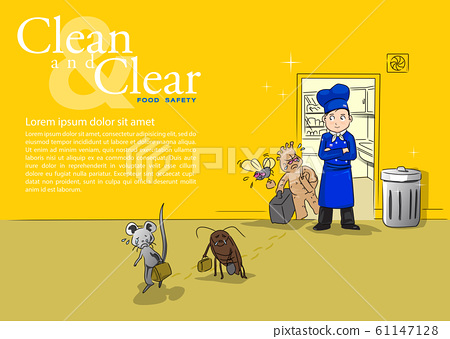 When making the kitchen clean and help to expel germs on yellow tone 61147128