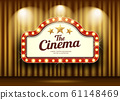 Cinema Theater and red sign light up curtains gold  61148469