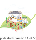 Eco-power house and three generation family on leaves 61149877