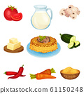 Polenta, Traditional Italian Cuisine Food Vegetarian Dish witn Ingredients Vector Illustration 61150248