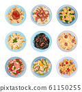 Different Pasta Served on Plate Top View Vector Set 61150255