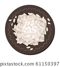 White Dried Rice in Ceramic Plate, View from Above Vector Illustration 61150397