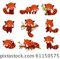 Cartoon Red Panda Character Doing Different Activities Vector Set 61150575