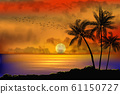 A Tropical Sunset with Palm Trees 61150727