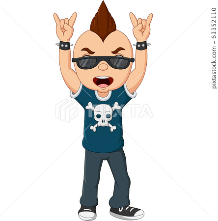 Cartoon punk boy with mohawk and sunglasses 61152110
