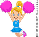 Happy cheerleader in blue uniform with pom poms 61152111