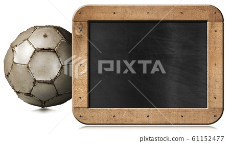 Old soccer ball and empty blackboard isolated on white background 61152477