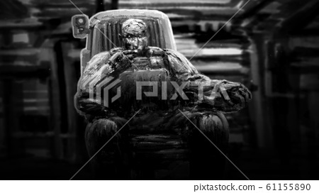 Captain of spaceship sits in control chair and 61155890