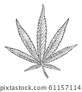 Marijuana leaf. Vintage black vector engraving 61157114