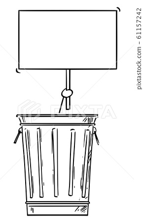 Vector Cartoon Illustration of Homeless Man or Businessman Hidden or Locked in Trash Can and Holding Empty Sign 61157242