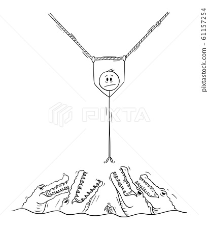 Vector Cartoon Illustration of Man or Businessman Hanging on the Rope Above Water Full of Crocodiles 61157254