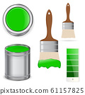 Green paint with brush 61157825