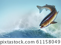 Rainbow trout fish on background realistic illustration. Trout delicacy. Wild river fish on the background of waves a realistic illustration of a place for text. 61158049
