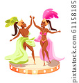Popular brazil carnival event advertising poster element. Cartoon women in festive clothes dancing. Stage in shape of drums. Vector illustration. 61158185