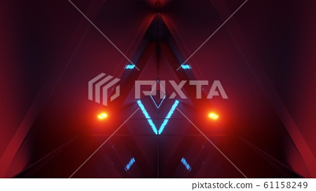 glowing triangle space ship temple tunnel corridor in futuristic sci-fi style with reflective glass bottom 3d illustration background wallpaper 61158249
