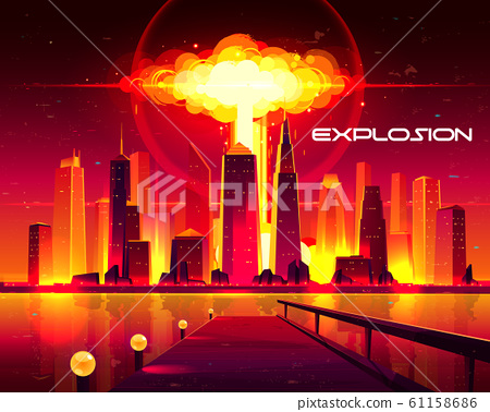 Nuclear weapon explosion in city cartoon 61158686
