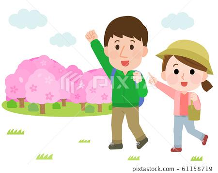 꽃놀이 하이킹 벚꽃 커플 일러스트 61158719