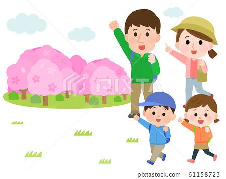 꽃놀이 하이킹 벚꽃 가족 일러스트 61158723