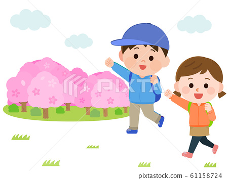 꽃놀이 하이킹 벚꽃 남녀 어린이 일러스트 61158724