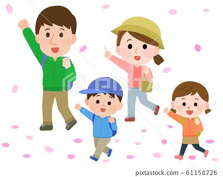 꽃놀이 하이킹 벚꽃 가족 일러스트 61158726