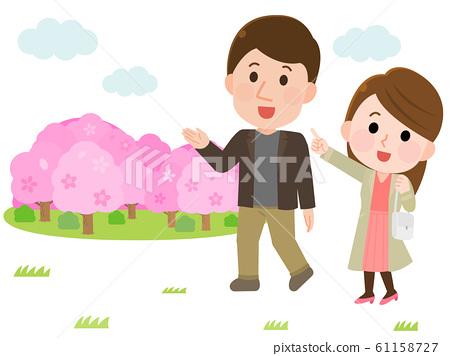 꽃놀이 하이킹 벚꽃 커플 일러스트 61158727
