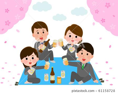 꽃놀이 연회 벚꽃 직장인 일러스트 61158728