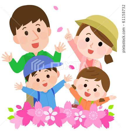 꽃놀이 桜枠 부모 일러스트 61158732