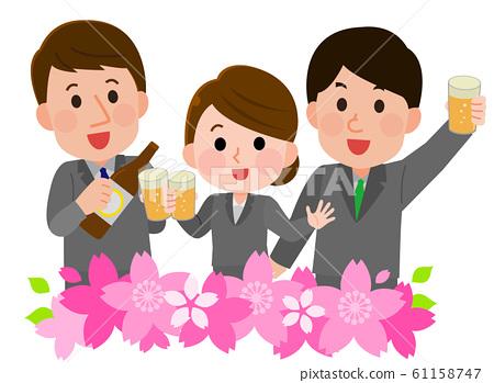 꽃놀이 연회 桜枠 직장인 일러스트 61158747
