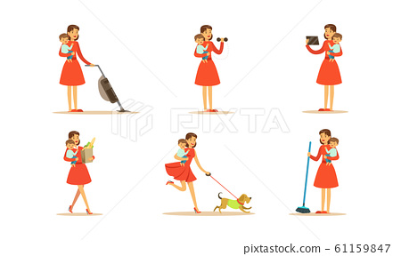 Housewife Engaging in Different Domestic Works Vector Illustrations Set 61159847