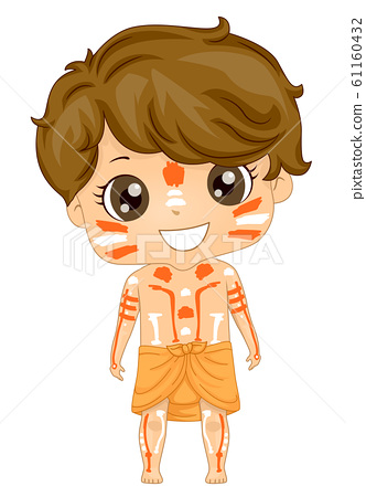 Kid Boy Australian Aboriginal Costume Illustration 61160432