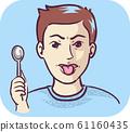 Man Spoon Metallic Taste Illustration 61160435