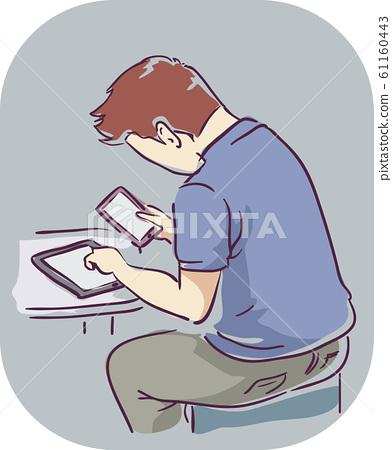 Man Hand Symptom Mobile Addiction Illustration 61160443