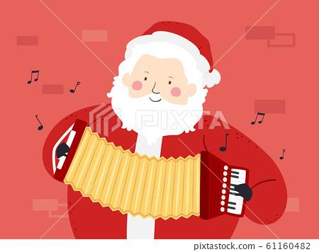 Santa Claus Accordion Street Performer 61160482