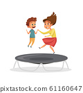 Kids jumping on trampoline vector illustration isolated on white background 61160647