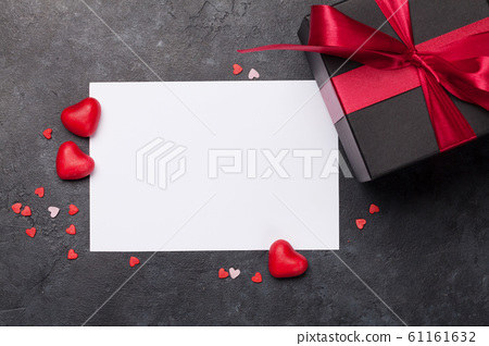 Valentines day card with gift box 61161632