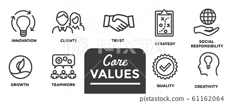 Core Values - Mission, integrity value icon set 61162064