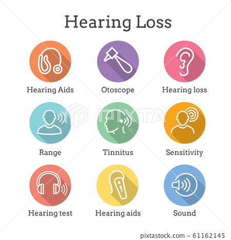 Hearing Aid or loss with Sound Wave Images Set 61162145
