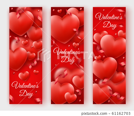 Three Valentines Day vertical banners with red hearts, ribbons and colorful balls. Holiday card illustration on red backgrounds 61162703
