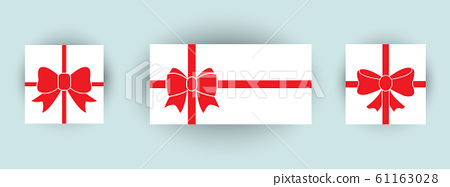set of gift box with red bow 61163028