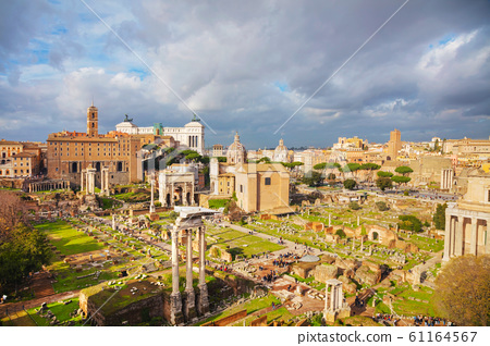 Roman forum ruins on a cloudy day 61164567